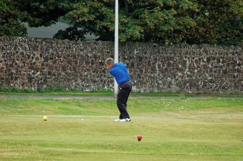 golfer tee shot tee