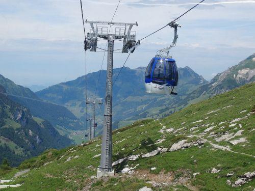 gondola mountain landscape rope masts