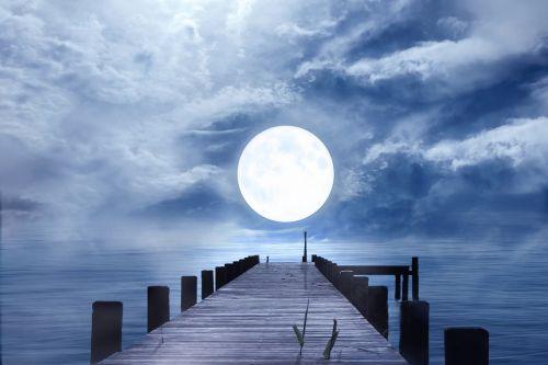 good night full moon moonlight