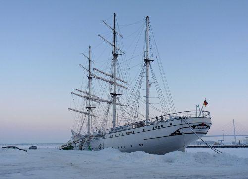 gorch fock sail training ship in winter