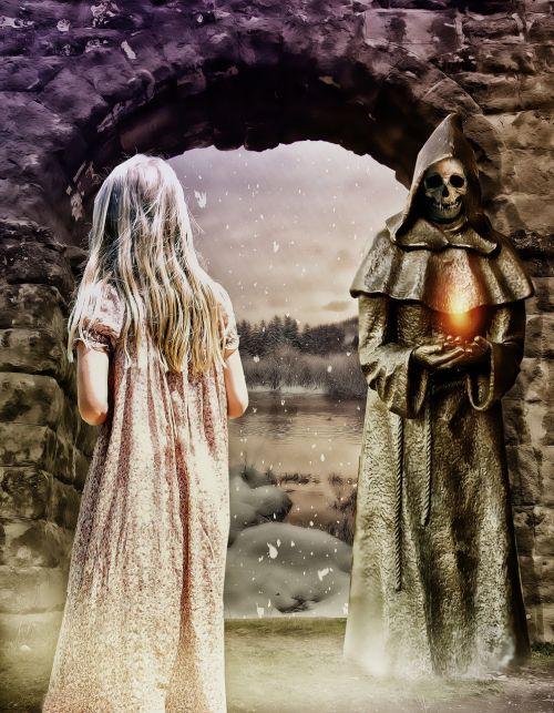 gotika,fantazija,tamsi,mergaitė,magija,paslaptis,portalas,žiemos portalas,statula,vienuolio statula,kaukolė,Moteris,epinis,legenda,tamsi svajonė,svajonė,mistikas,mistinė svajonė,fantazijos pasaka