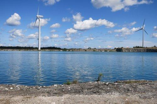 gotland  windmills  lake