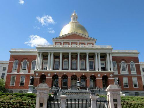 vyriausybės pastatai,Bostonas,usa,Masačiusetso valstijos namas,aukso kupolas,Massachusetts,Jungtinės Valstijos,amerikietis