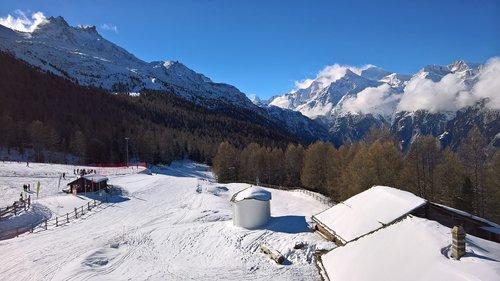 grächen hannigalp  winter  ski run