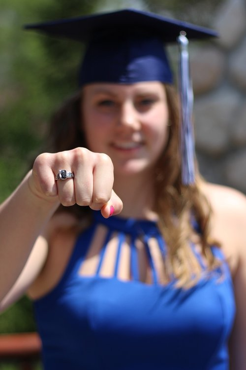 graduate  class ring  outdoors