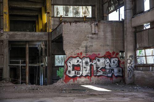 graffiti abandoned factory abandoned
