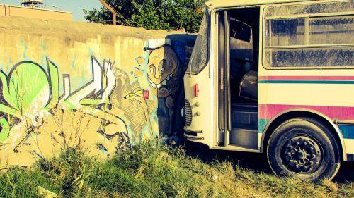 graffiti wall bus