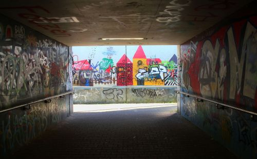 graffiti underpass shadow