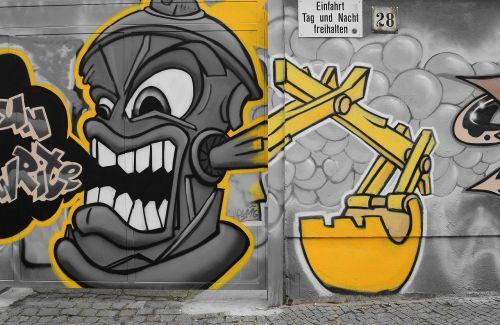 grafiti,gatvės menas,miesto menas,menas,purkštuvas,fjeras,Berlynas,kreuzberg,ekskavatoriai,tikslas,vartai