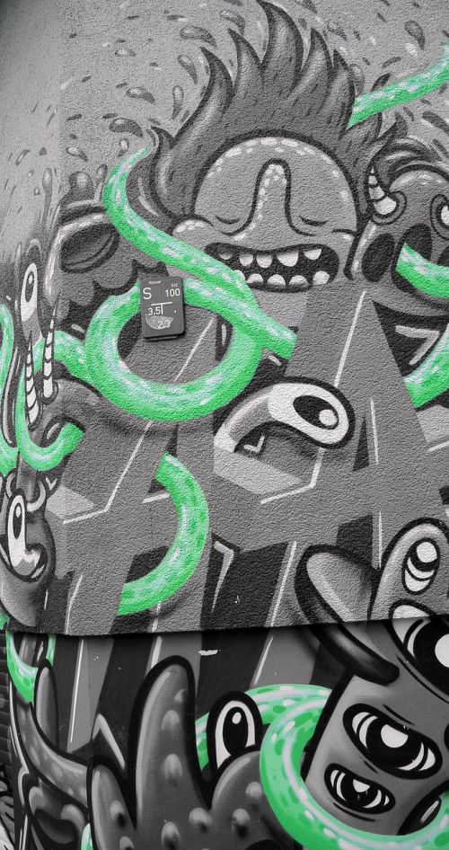 grafiti,gatvės menas,miesto menas,siena,fjeras,fasadas,menas,purkštuvas,Berlynas,kreuzberg,žalias