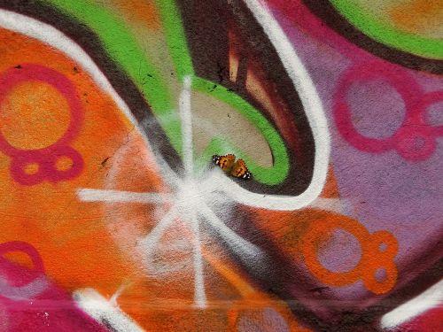 grafiti,gyvūnas,vabzdys,drugelis,dažytos panele,sėdėjo ant grafiti
