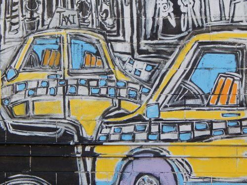 graffiti street art taxi