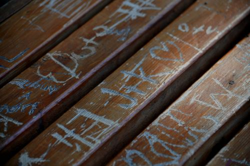Graffiti Carved Wooden Bench #2