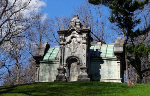 Graffiti-covered Cemetery Mausoleum
