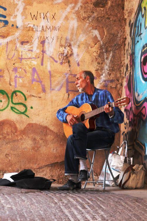 graffiti wall guitar street art