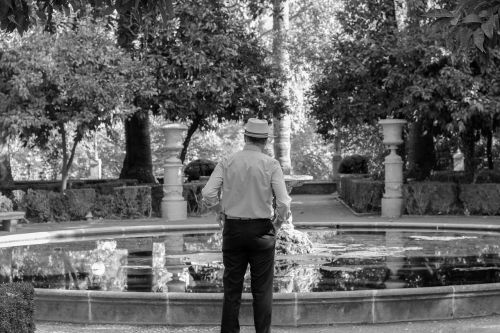 granada,garden,orchard,carmen of the martyrs,carmen,realejo,source,adult,male,black and white,people,man,older adult,model,maturity,old,reflection