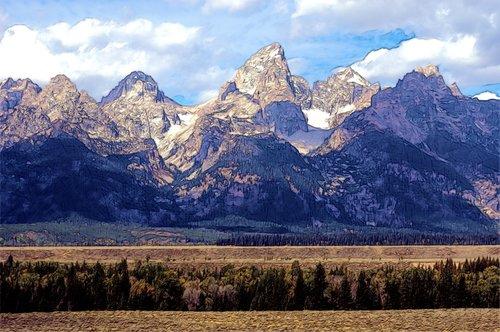 grand teton mountains  mountains  rock