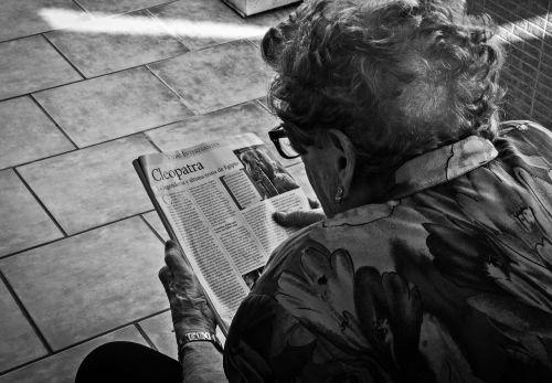 grandmother elderly woman reading