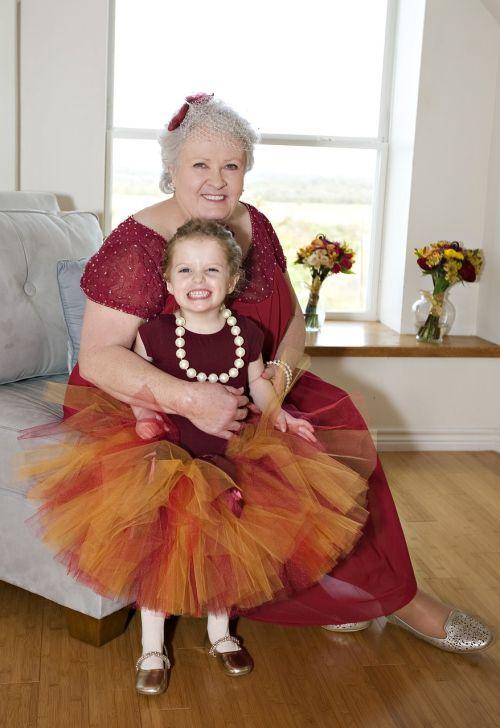 grandmother with granddaughter celebration grandmother