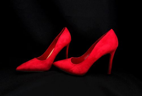 graphic high heels red