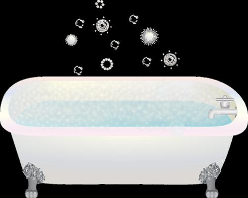 graphic  bathtub  bubble bath