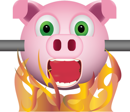 graphic  pig on spit  emoji
