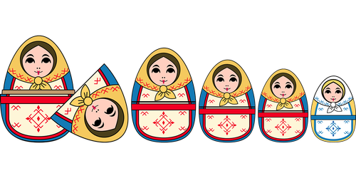 graphic  russian dolls  dolls