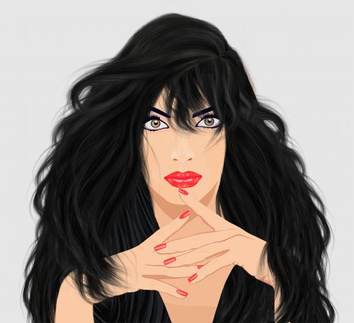 graphic design lady long black hair