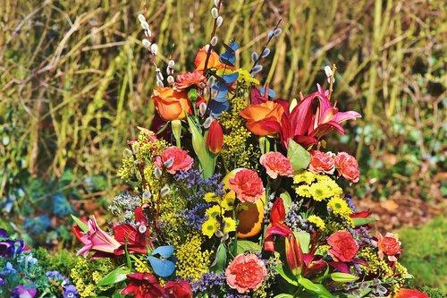 grave arrangement  floral arrangement  flowers
