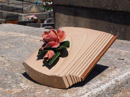 grave decoration book rose