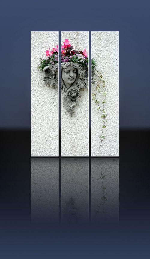 kapo akmuo,kapo akmuo,mergaitė,moteris,galva,akmuo,dekoratyvinis,gėlės,siena,veidas,liejimas,pilka,apmąstymai,tryptic