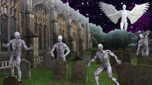 graveyard zombie angel