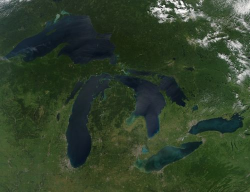 great lakes aerial view earth