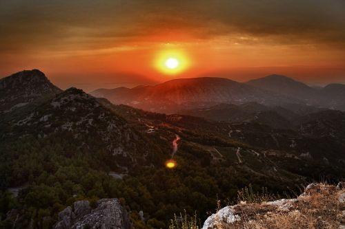 greece sunset romantic