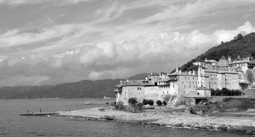 athos mountain greece monastery