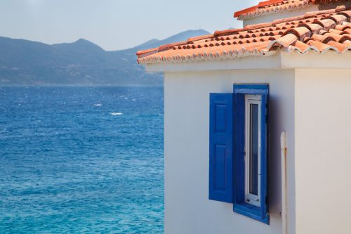 Greek Building And Sea