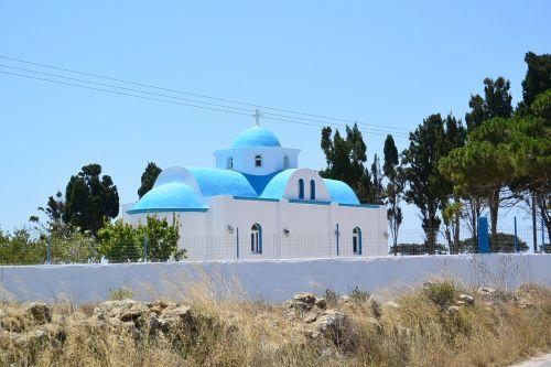 greek church blue domed roof