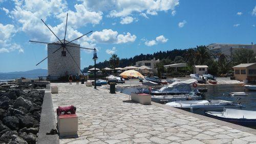 greek mill corfu at the seaside
