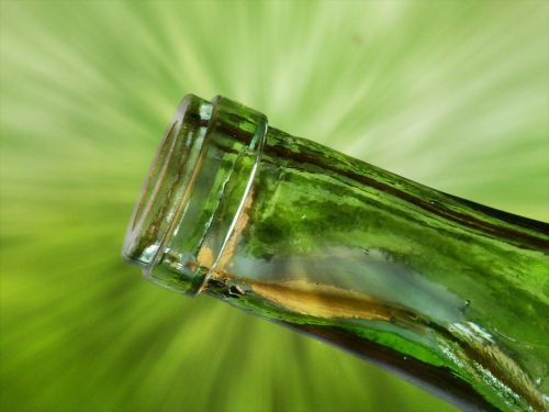 green bottle neck drink