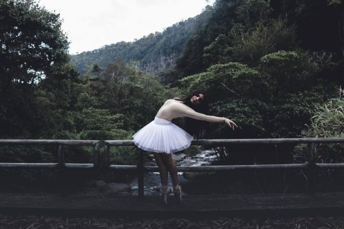 green,trees,plant,nature,forest,bridge,people,girl,woman,dancing,ballet