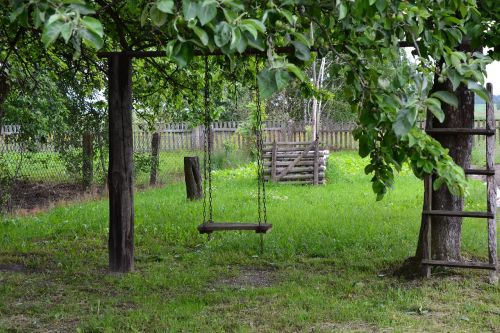 green swing wooden