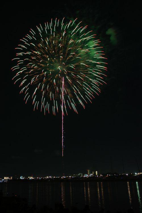 green flowers fireworks