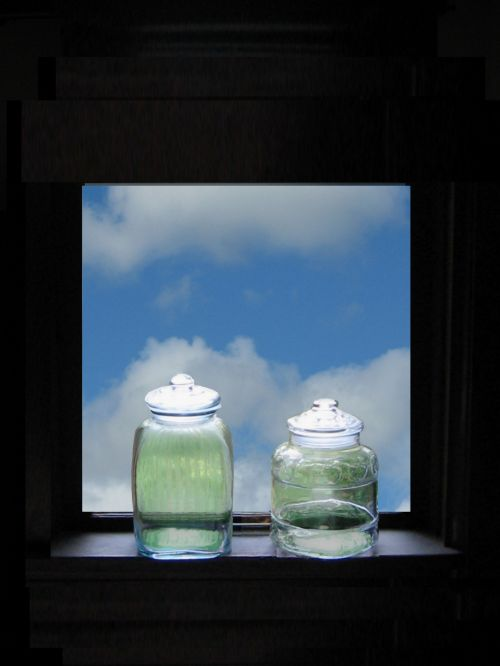 Green Bottles On Window Ledge
