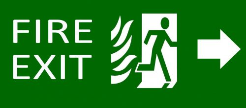 Green Exit Emergency Sign On White