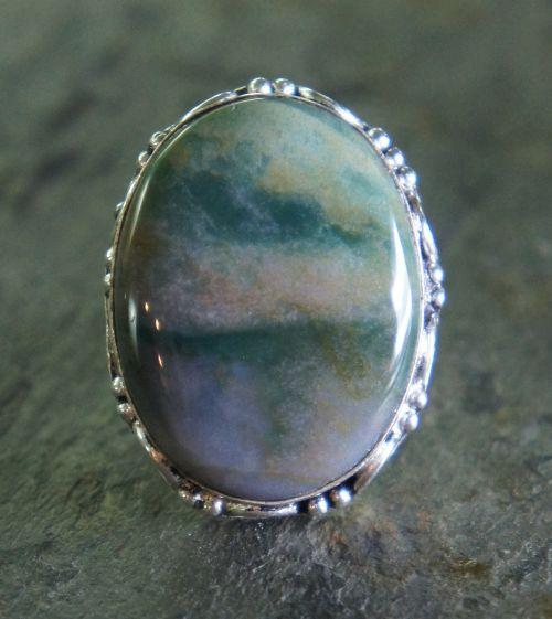 green jasper ring silver metal