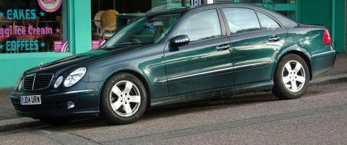 Green Marcedes Saloon Car