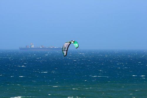 Green Windsurfer Canopy On Sea