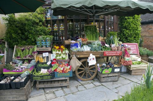 greengrocer's handcart vegetable display old wooden pallets and boxes
