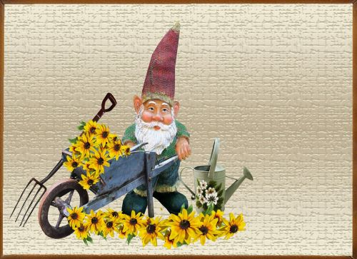 greeting card gnome flower