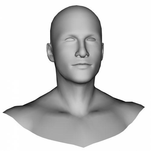vyras, galva, 3d, pilka, molis, skulptūra, izoliuotas, balta, fonas, nuplikęs, figūra, kelti, pilka molis